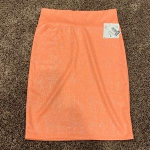 LG LULAROE PENCIL SKIRT - HOT CORAL & SILVER  -NWT